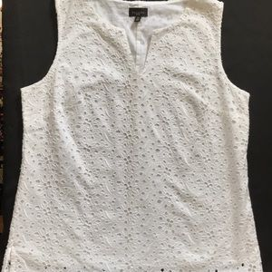 Talbots petites white eyelet cotton shell